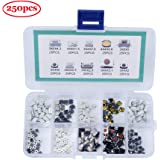 TeOhk 250pcs Tactile Push Button Switch - 10 Values Caps Micro Momentary Tact Switches Assortment Kit with Box
