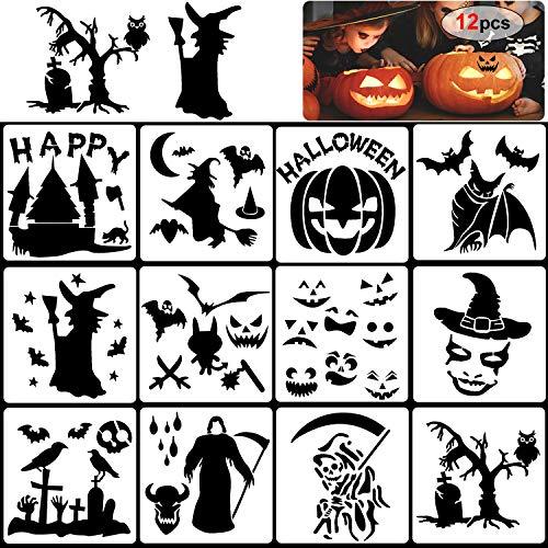 Halloween Kürbis Vorlagen - Howaf 12 Stück Wiederverwendbarer Kunststoff Halloween