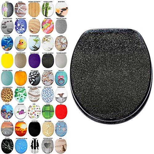 Sedile wc | grande scelta di sedili wc scintillanti da legno robusto e di alta qualità (nero scintillante)