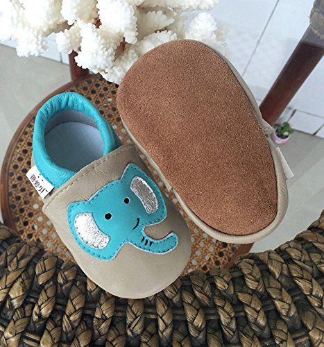 Goldore 100% cuir véritable semelle souple Newborn Infant Toddler antidérapants Chaussures pré-walker 0-2 ans elephant blue