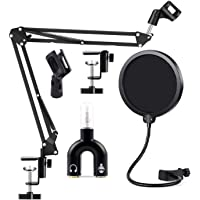 Techtest Microphone Suspension Scissor Boom Arm for Condenser Mic Stand with Pop Filter for Voice Recording and Singing…