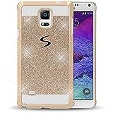 NALIA Handyhülle für Samsung Galaxy Note 4, Glitzer Slim Hard-Case Hülle Back-Cover Schutzhülle, Handy-Tasche im Glitter Design, Dünnes Bling Strass Etui Skin für Samsung-Note 4 Smart-Phone - Gold