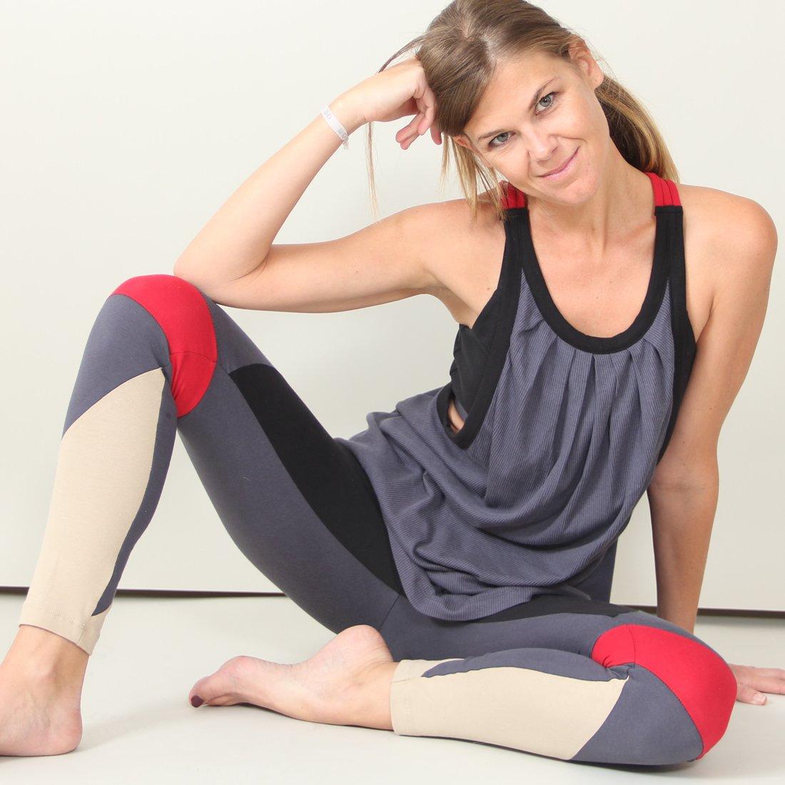 Galapagos color-Blocco yoga leggings, Color Block Red, XL