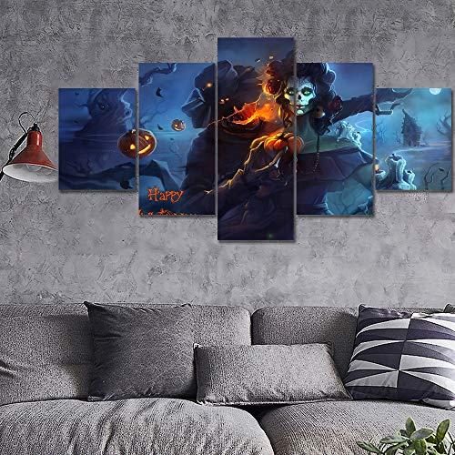 LAKHAFZY Rahmen Moderne HD Drucke Poster Für Schlafzimmer Wandkunst Bilder 5 Stück Dunkle Halloween Zuckerschädel Leinwand Gemälde Wohnkultur