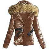 Minetom Cappotto Elegante Donna Corta Piumino Invernale Giacca per Giacche di Cotone Pelliccia Sintetica Pelliccia Cappuccio