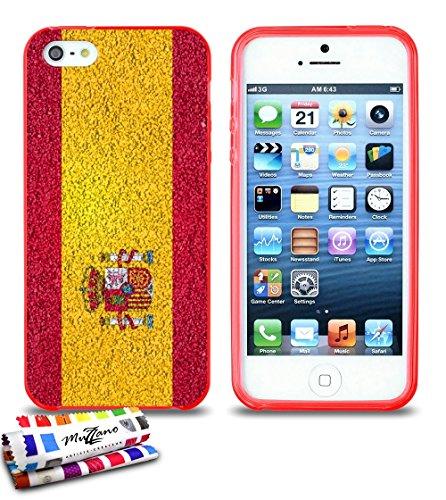 Ultraflache weiche Schutzhülle APPLE IPHONE 5S / IPHONE SE [Spanien Flagge] [Durchsichtig] von MUZZANO + STIFT und MICROFASERTUCH MUZZANO® GRATIS - Das ULTIMATIVE, ELEGANTE UND LANGLEBIGE Schutz-Case  Rot