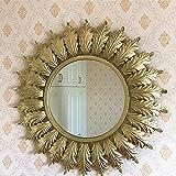 Diseño French estilo Vintage decorativo espejo de pared espejo grande, dorado, redondo