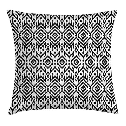 Heekie Fodera per Cuscino Federa copridivano Decor Black And White Throw Pillow Cover Cushion for Sofa Couch, Monochrome Ikat Pattern Bohemian Ethnic Authentic Chevron Modern Scribble, Black White