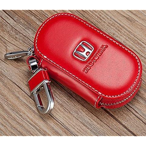 Personalizado con elegante piel de vacuno Llave de Coche Llave funda llavero para Honda Rojo