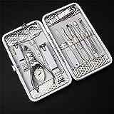 BrilliantDay 12 pcs Chiodo Cura Personali Manicure Pedicure Set, Viaggio Grooming Kit Strumento Set Con Custodia