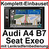 Pioneer AVIC-F980DAB Navigation Bluetooth DAB+ Einbauset für Audi A4 B7 Seat Exeo