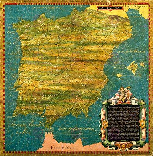 map-bonsignori-gold-iberian-peninsula-large-replica-poster-print-pam0705