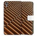 HTC Desire 626 Tasche Hülle Flip Case Dachziegel Ziegel Look Muster