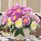Unechte Blumen,Vase+KüNstliche Deko Blumen GefäLschte Blumen Seidenrosen Plastik Braut Hochzeitsblumenstrauß FüR Haus Garten Party Blumenschmuck , 038