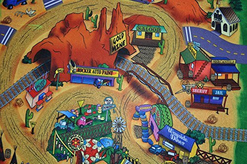 "Silli Me ""Wild West"" Cowboys, Indians, Desert Play Mat with Train Tracks and Tunnels"