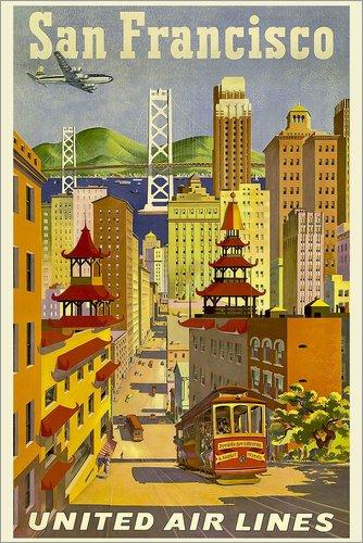 Poster 40 x 60 cm: San Francisco United Airlines von Travel Collection - hochwertiger Kunstdruck, neues Kunstposter - Airlines United Poster