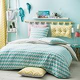 Today 232914 Housse de couette California Dream Dessin Malibu 220x240 cm avec 2 taies d'oreiller 63x63 cm  Coton Blanc/Turquoise