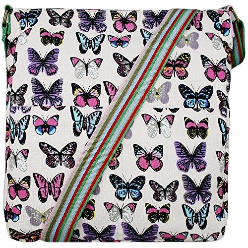 Donna, motivo floreale con farfalla, motivo a pois, in tela Beige