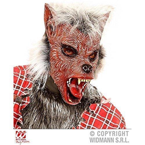 Lively Moments Halbmaske Werwolf rot mit Haar / Werwolfsmaske / Latexmaske / Halloweenmaske / Werwolfkostüm Zubehör