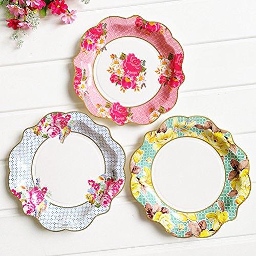 TOYMYTOY Einweg-Papier Abendessen Teller Blütenblatt Design Platten Party Supplies, 3 Farben, 12 - Platten Hellen Die Papier Gelben