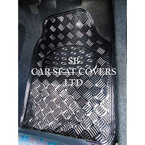 Per Seat Leon 5porte, carbonio metallico piatto gomma PVC Tappetini Per Auto Universale, 4pezzi set