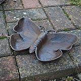 Gardens2you Bain/mangeoire pour oiseaux en fonte Forme papillon Finition antique