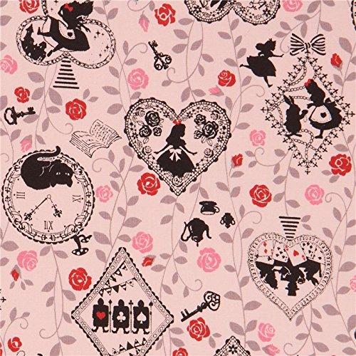 Blasspfirsichfarbener Kokka Stoff schwarz grau Alice im Wunderland Motive Blume (Schwarz Alice Im Wunderland Kleid)