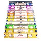 Genuine Satya Sai Baba - Nag Champa Variety Mix Set W 12 X 15gram Boxes Of Incense, Includes Nag Champa, Super Hit, Eastern Tantra, Spiritual Aura, Nirvana, Mystic Yoga, Seven Chakra, Sacred Ritual, Californian Sage, Ayurveda, Tree Of Life, Myrrh