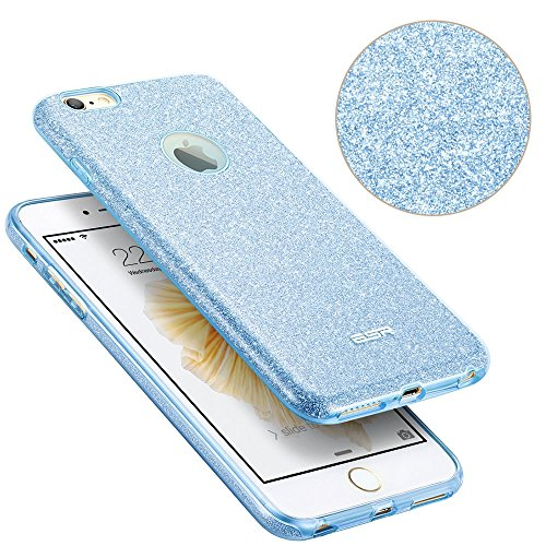 iPhone 6 / 6S Hülle (4,7 Zoll), ESR® Glitzer Schutzhülle [Weiche TPU Abdeckung + Glitzer Papier + PC innere Schicht] [Drei in Einem] Hülle für iPhone 6/6S (Rosygold) Blau