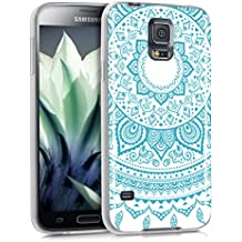 kwmobile Funda para Samsung Galaxy S5 / S5 Neo / S5 LTE+ / S5 Duos - forro de TPU silicona cover protector para móvil - Case Diseño sol indio menta blanco