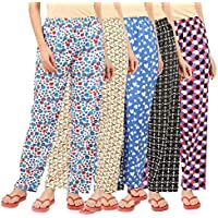 Trading Balaji Womens Track Pant Lower Cotton Printed Payjama/Lounge Wear –Soft Cotton Night Wear/Pyjama for Women(Pack of 5Pcs), Prints May Vary (Assorted Pyjama)