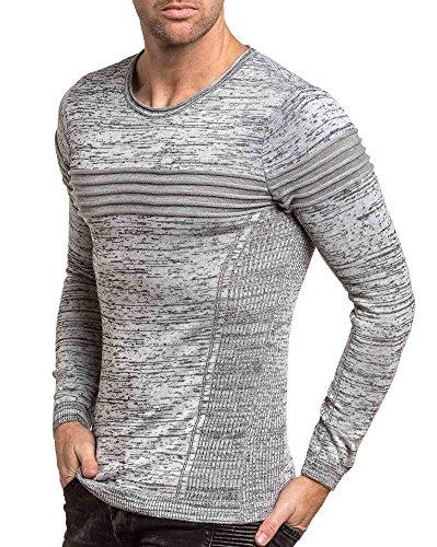 BLZ jeans - Pullover fin gris chiné homme à nervures Gris