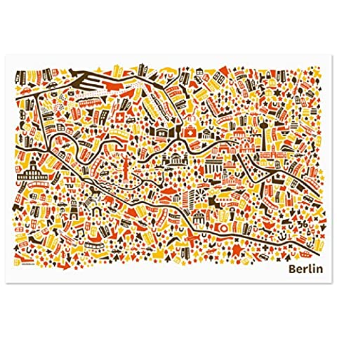 Berlin Poster (70x50) city map art print illustration including Brandenburg