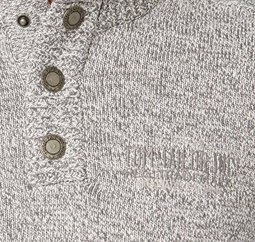 TOM TAILOR Messieurs Pull-over tricoté blanc gris