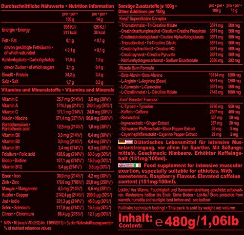 IronMaxx Zorn Powder, Himbeere - Trainingsbooster mit Koffein & der Krea7 Formula für extreme Leistung - Pre Workout Fitness Shake - 1 x 480 g Pulver