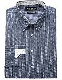 Nick Graham Men's Modern Fitted Tic Tac Toe Print Stretch Dress Shirt
