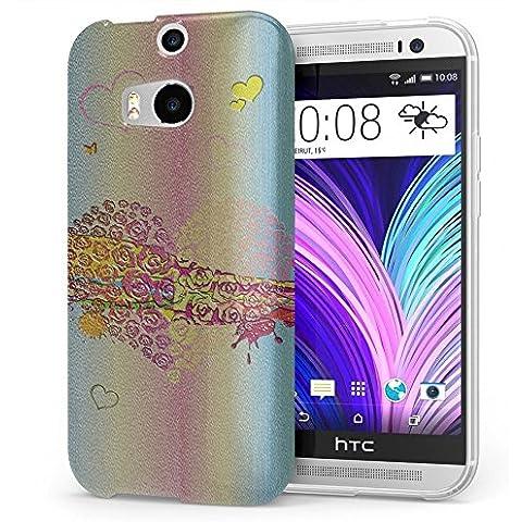 Amore 10017, Cuore, Cristallino Custodia Protettiva in Gel Silicone Caso Ultra Sottile Copertura con Disegno Strutturato per HTC One M8