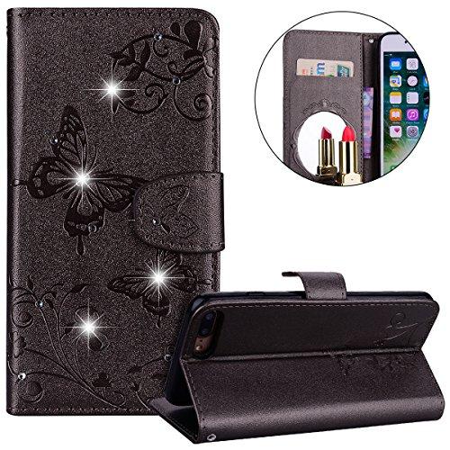 Surakey Coque iPhone 8 Plus/ 7 Plus,Fleur de Papillon Motif Cristal Glitter Strass PU Cuir Case à rabat Coque Portefeuille Housse Flip Wallet Case Magnétique Étui pour iPhone 7 Plus/8 Plus, Gris