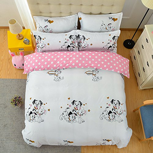 KFZ Bett Set (Zwei Full Queen King Size) [4 Stück: Bettbezug, Bettlaken, 2 Kissenbezüge] keine Tröster KSN Naughty Pig Punkten Hund Erdbeere Lovely Rabbit Fruit Cartoon Design für Jugendliche, Kinder, Erwachsene, Microfaser, Spotted Dog,pink, Full 70