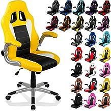 """RACEMASTER® """"GT Series"""" - Silla de escritorio/Gaming silla de despacho - Mecanismo de inclinación y elevación Homolación SGS - Disponible en 20 colores silla de oficina amarillo/negro/blanco"""
