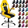 """RACEMASTER® Racing chaise de bureau """"GT Series"""", accoudoirs pliables, Fauteuil de bureau, couleur jaune noir blanc"""