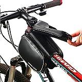 Fahrradtasche Rahmentaschen, MOREZONE Frarradschnalletasche mit zwei Fäche, geeignet für Handy mit Größe unten 6,0″, Farhradlenkertasche (Black) - 2