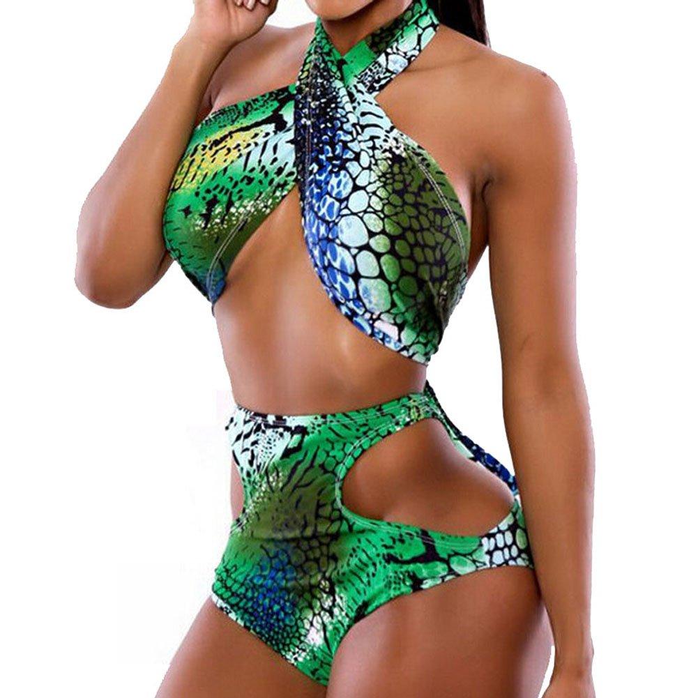 TOOGOO(R) Sexy ha tagliato il verde Stampa Croce Halter Top Costumi da bagno delle donne del costume