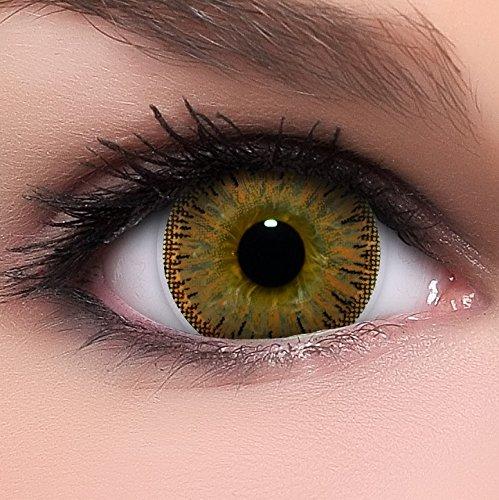 Linsenfinder Lenzera Circle Lenses braune 'Dolly Brown' ohne Stärke + Behälter Big Eyes 15mm farbige Kontaktlinsen