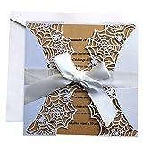 Einladungskarte,Elegant Spitze hohlen dekorative Einladungskarten für Hochzeit Geburtstag Verlobung 10 Stück