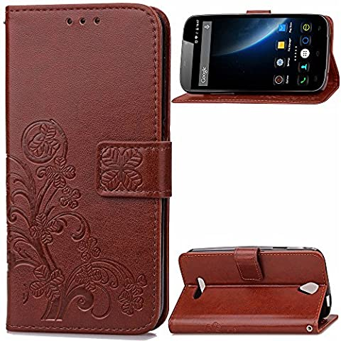 DOOGEE X6 X6 PRO 5.5 Zoll Case Leather, Ecoway Clover embossed Patterned PU Leather Stand Function Protective Cases Covers with Card Slot Holder Wallet Book Design Folio Magnetic Flip Stand Feature for DOOGEE X6 X6 PRO 5.5 Zoll - Four Leaf Clover(Coffee brown)
