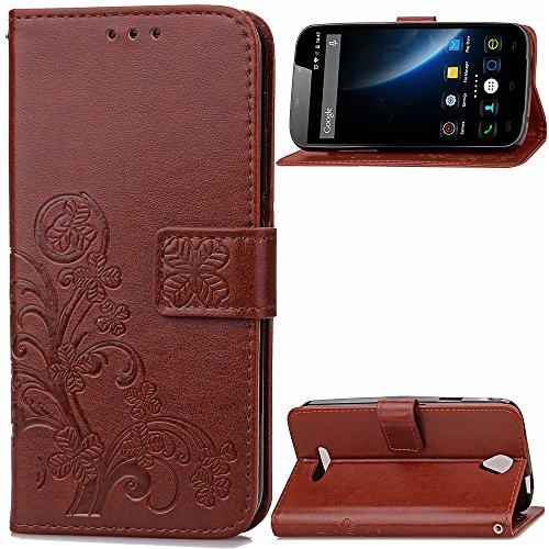 Kihying Hülle für Doogee X6 / Doogee X6 Pro Hülle Schutzhülle PU Leder Flip Wallet Fashion Geschäft HandyHülle (Brown - SD02)