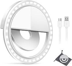 GIM Selfie Licht Ringleuchte für Handy Tablet Universell Ringlicht LED Fotolicht Selfie Light Aufladbare Eingebaute Batterie 3 Helligkeitsstufen