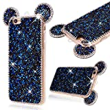 """GrandEver Soft Bumper Case for iPhone 6 iphone 6S Silicone TPU Back Cover, iPhone 6 Diamond Back Case Ear Design, iPhone 6S Rhinestone 3D Diamond Bling Sparkle Shiny Pattern, Apple Cell Phone Accessory with Hand Strap Kits Scratch-Proof Protective Shell for iPhone 6/iPhone 6S (4.7"""") --- Blue"""