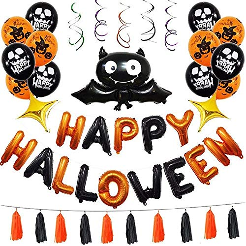 Halloween Bunting Banner, Happy Halloween Girlande Flagge Fledermaus Spuk Luftballons Party Halloween Dekoration Requisiten Indoor Outdoor Dekoration Zubehör